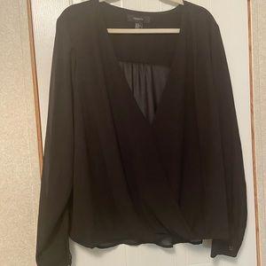 Black sheer plus sized blouse